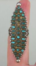 Vntg Sterling Silver 34 Petit Point? Turquoise Extra Long Native American Ring