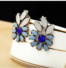 BEAUTIFUL ZARA BLUE MORNING BURST NAVETTE STUD EARRINGS - NEW