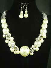 Graceful Crystal Polka Dotted Cream Pearl Silver Grey Bead Silver Chain Necklace