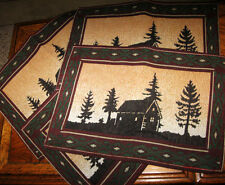TAPESTRY PLACE MAT SET RUSTIC WILDERNESS CABIN SILHOUETTE LODGE DECOR 4 PC SET