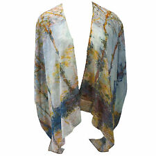NEW NWT Cocoon House Monet Poplars on Banks 100% Silk Kimono Blouse Large, XL