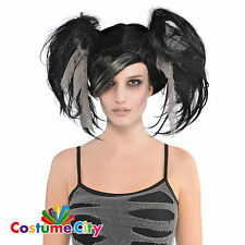 Adults Black Mummy Pigtails Wig Halloween Fancy Dress Party Costume Accessory