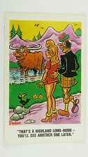 1960s Risque Funny Postcard Blonde Big Boobs Scotland Highland Longhorn Cattle