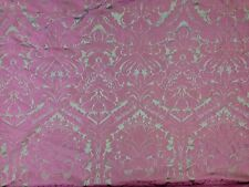 FAUX SILK DAMASK PINK SILVER WOVEN CURTAIN SOFT FURNISHING DRESSMAKING FABRIC
