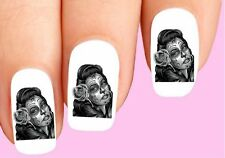 Waterslide Nail Decals Set of 20 - Day of the Dead Sugar Skull Girl with Rose