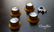 CreamTone Lightly Aged Gold Reflector Knob & Pointer Set for Gibson Les Paul 60