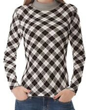 White Black Gray Argyle Women High Neck Turtleneck Tops Pullover Shirts