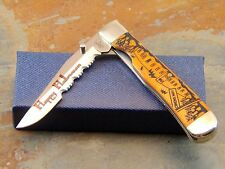 CASE XX 2008 HALLOWEEN EDITION ORANGE BONE 6154L SS TRAPPER POCKET KNIFE, RARE