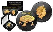 2016 Tuvalu BU STAR TREK 1 oz Silver Coin BLACK RUTHENIUM & 24KT Gold BOX & COA