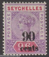 SEYCHELLES - 1893 90c.on 96c. Mauve and Carmine MM / MH