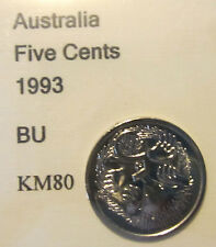 1993 Australia 5c Five Cent UNCIRCULATED FROM MINT SET
