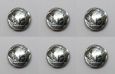 "Set of 6 ANTIQUE BUFFALO NICKEL REPRODUCTION COIN CONCHOS 7/8"" SCREW BACK"