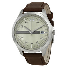 Armani AX Exchange Whitman Silver Dial Brown Leather Mens Watch AX2100
