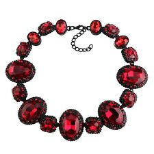 NEW BEAUTIFUL ZARA RED FACETED SPARKLING STONES STATEMENT NECKLACE