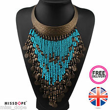 NEW BLUE BRONZE STATEMENT TASSEL NECKLACE WOMENS BOHEMIAN BEAD BIB VINTAGE COIN