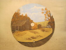 hand painted country scene nature fall rustic cabin car electric saw blade art