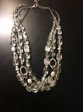 Vintage Rock Crystal Quartz Freshwater Pearl Silver Necklace
