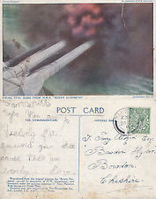 1916 15 INCH GUNS BEING FIRED FROM HMS QUEEN ELIZABETH COLOUR POSTCARD