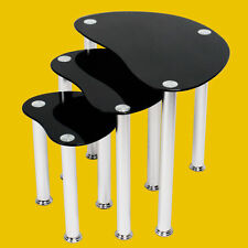Nest of 3 Black Coffee Tables Safe Tempered Glass Oval Modern Side End Table Set