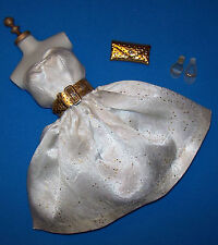 Vintage Barbie #958 Party Date White Satin Dress Complete Belt Purse Shoes 1963