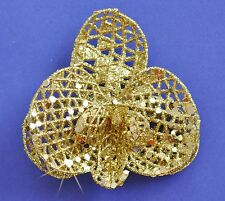 """3"""" Gold Sparkle Glitter Orchid Hair Clip Holiday Special Occasion Christmas"""