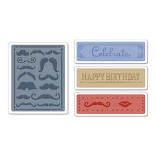 SIZZIX TEXTURED IMPRESSIONS 4 Pack Embossing Folders MUSTACHE SET 657983 REDUCED