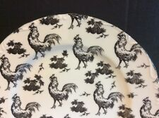 Rare. Aux Au Provence Black & White Rooster Transfer Ware Dinner Plate