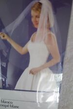 Wilton White Blunt Edge Single Layer Veil With Pearls 38 in Long New 120-026