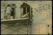 237063 Bricklayers Forming New Frames In Old Brick Wall A4 Photo Print