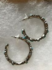 CHAPS TURQUOISE AND SILVER TONE EARRINGS  VERY NICE!