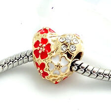 NEW 1pcs gold heart flower European charm Fit Necklace Bracelet bead  SH239