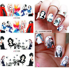 4 Patterns Girls Painting Water Decals Cartoon Nail Art Full Transfers Stickers