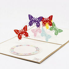 3D Greeting Anniversary Pop Up Stereo Butterfly Wedding Invitation Card