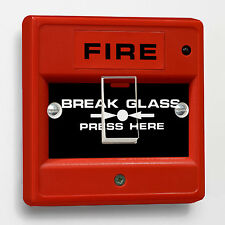 Red Fire Break Glass joke Light Switch Sticker to fit Crabtree 1-gang way 4070