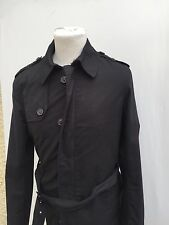 W@W ZARA MAN MENS TRENCH COAT - SMALL/MEDIUM DARK NAVY COTTON MAC JACKET 40R