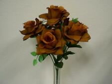 "2 Bushes BROWN Open Rose Artificial Silk Flowers 15"" Bouquet 7-039BR"