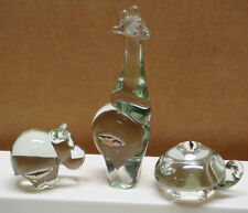 3 NGWENYA Glass Animal Figurines Hippo Hippopotamus Giraffe Turtle Swaziland