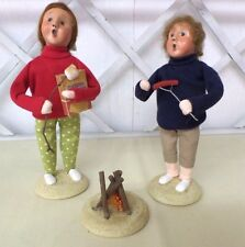 Byers Choice Summer Boy & Girl Roasting Smores & Hot Dog Over Fire Pit Signed JB