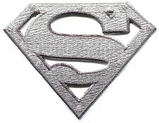 SUPERMAN silver metal logo EMBROIDERED IRON-ON PATCH *Free Ship* pdc101 dc comic