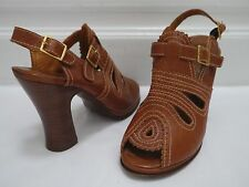 CHIE MIHARA brown leather cutout peep-toe heels shoes sandal size 36.5 WORN ONCE