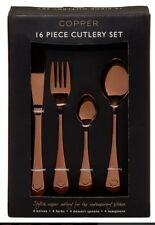 16 Piece Cutlery Copper Rose Gold Effect Set Knife Fork/Teaspoon/Spoon Next Day