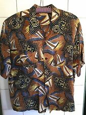 Vintage 1940s Rayon Penney's Sailboat Nautical Print Hawaiian Shirt Sz. L