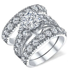 3pc Women Round Cut White AAA Cz Wedding Band Bridal Engagement Ring Set Size 7
