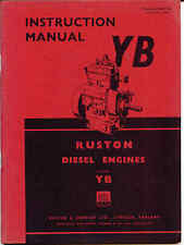 Ruston YB diesel engine instructions including YBR YBZ YBM 1 & 2 cyl. 1959