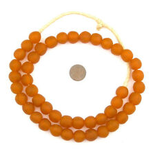 African Orange Recycled Glass Beads (14mm) Ghana