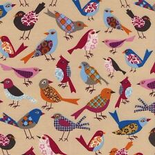 Timeless Treasures Fabric - Patterned Birds - Tan - 100% Cotton