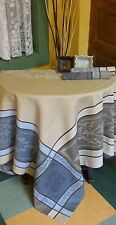 "French JACQUARD TABLECLOTH Montmirail 95""x60""  PROVENCE Teflon Coated"