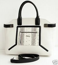 Furla bolso/Bag Alice top handle satchel Bag Leather/Snakeskin! nuevo!