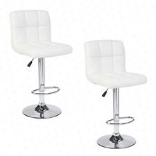 Modern Design Set of 2 Bar Stools Adjustable Swivel Leather Pub Chair In White
