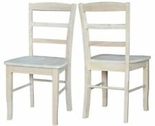 Unfinished Solid Wood Ladderback Side Dining Chair Box Seat Construction 2-Set